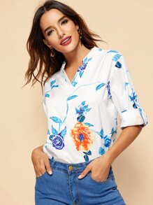 Floral Print Roll Up Sleeve Blouse