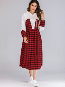 Gingham Print Bishop Sleeve Drawstring Hooded Dress
