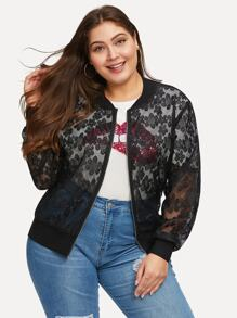 Plus Lace Overlay Floral Pattern Jacket