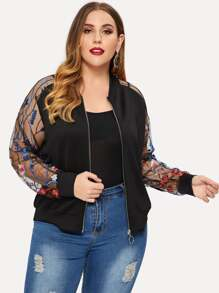 Plus Contrast Mesh Sleeve Floral Embroidered Jacket