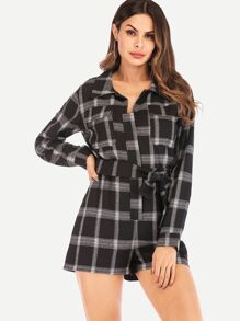 Self Tie Plaid Jumpsuit