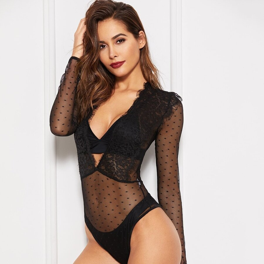 Eyelash Lace Deep-v Teddy Bodysuit