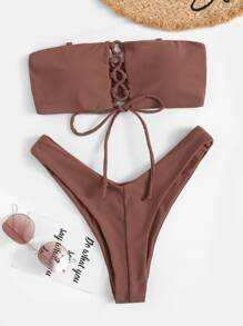 Lace-up Bandeau With High Cut Bikini Set
