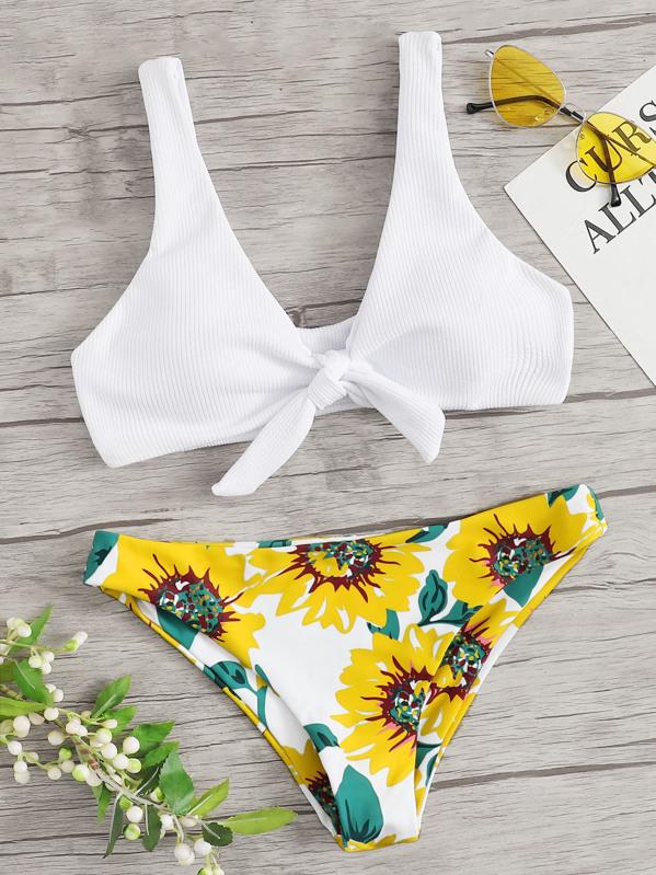 56fa67f1e6 Ribbed Tie Front Top With Random Floral Bikini | SHEIN
