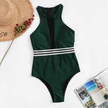 Striped Contrast Mesh High Neck One Piece Swimsuit