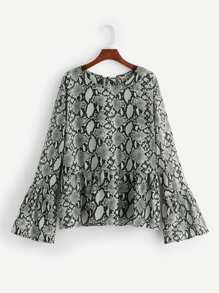 Plus Snakeskin Print Lace-up Back Blouse