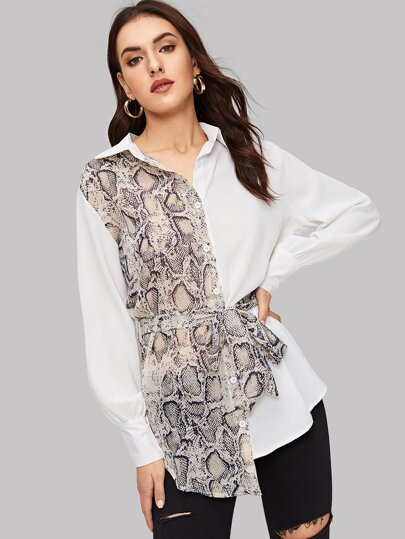 Snakeskin Spliced Self-tie Asymmetrical Shirt