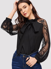 Lace Mesh Sleeve Tie Neck Blouse