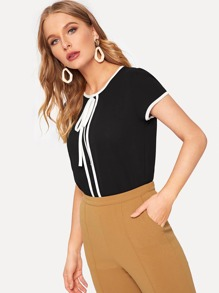 Contrast Trim Tie Neck Blouse