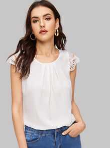 Guipure Lace Cap Sleeve Pleated Blouse