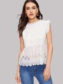 Laser Cut Embroidered Ruffle Hem Blouse