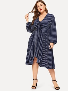 Plus Striped V-neck Dress