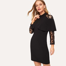51fc28eec280f ASOS MATERNITY Polo Neck Skater Dress With Lace Hem - Black | Goxip