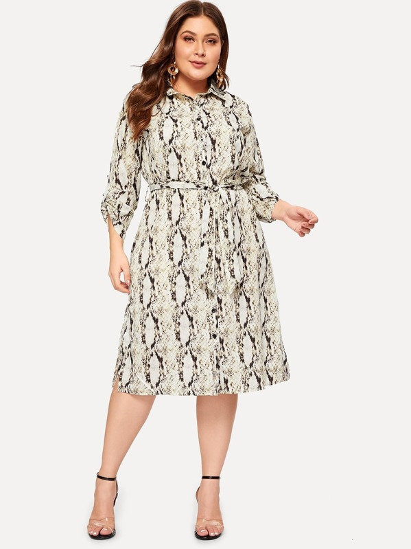 7a68f438d Plus Snake Print Button Front Shirt Dress | SHEIN IN