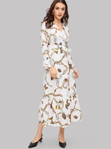 Plus Chain Print Wrap Self Tie Dress