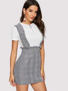 Glen Plaid Ruffle Trim Pinafore Skirt