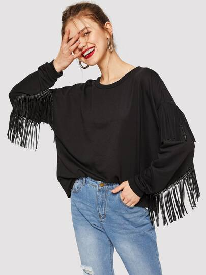 Drop Shoulder Fringe Sweatshirt