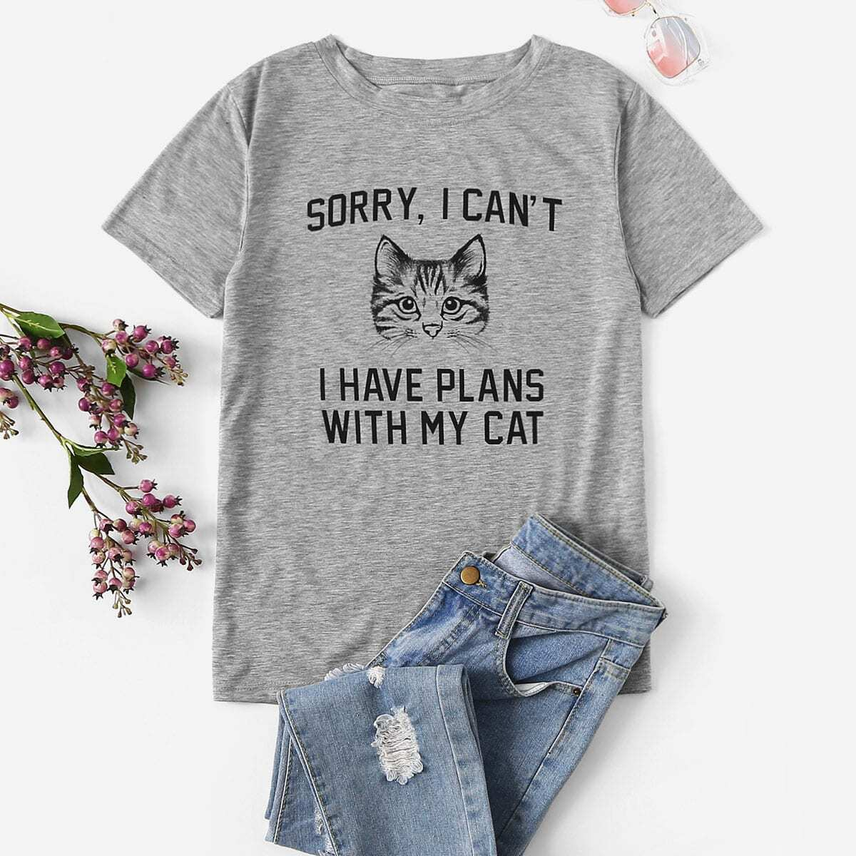 SHEIN coupon: Letter And Cat Graphic Tee