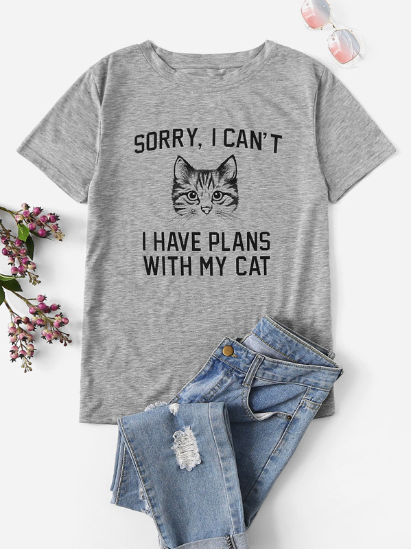 d11813688 Letter And Cat Print Tee | SHEIN