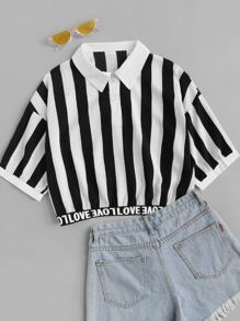 Striped Contrast Letter Ribbon Blouse