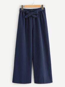 Striped Belted Wide Leg Pants