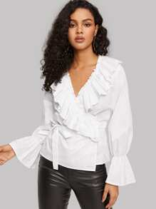 Pleated Ruffle Trim Wrap Surplice Blouse