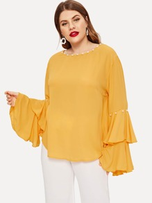Plus Pearl Detail Exaggerate Flounce Sleeve Top