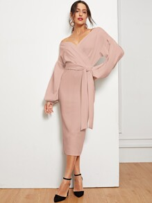 Bishop Sleeve Slit Hem Surplice Bardot Dress
