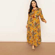 Multicolor Modest Long Sleeve Floral Fabric has no stretch Spring Plus Size Dresses, size features are:Sleeve Length : Long Sleeve,