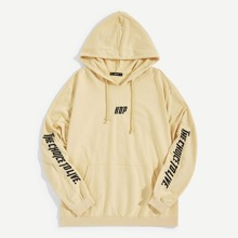 Men Letter Embroidered Detail Drawstring Hoodie