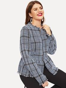 Plus Raw Hem Plaid Tweed Coat
