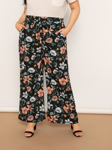 Plus Waist Belted Flower Print Wide Leg Pants