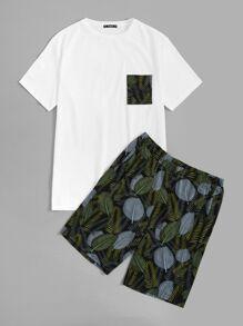 Guys Single Pocket Top & Tropical Shorts PJ Set
