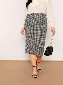 Plus Houndstooth Print Bodycon Skirt