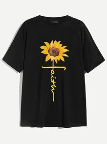 Men Sunflower Print T-shirt