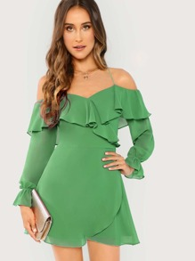 Cold Shoulder Ruffle Wrap Dress