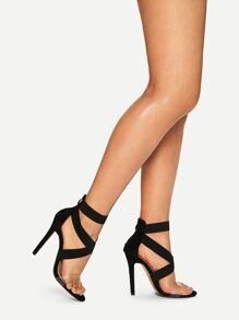 Solid Ankle Strap stiletto Heels