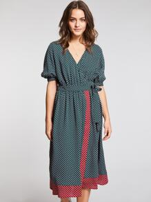 Surplice Neck Belted Dress