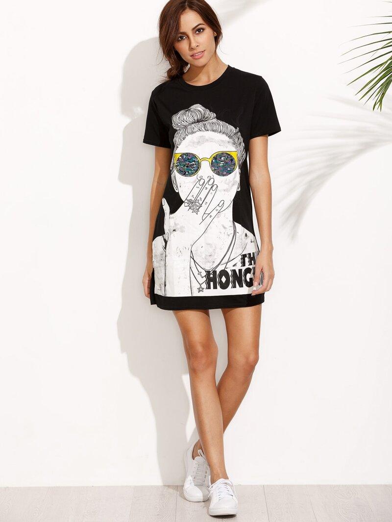 Lateral Camiseta Estampada Negro Abertura Vestido XiPwOkTlZu