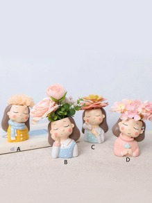 Girl & Flower Design Decorative Object 1pc