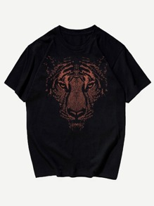 Men Tiger Face Print Tee