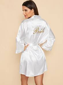 Letter Embroidered Self Belted Satin Bride Robe
