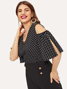 Plus Polka Dot Contrast Lace Cold Shoulder Blouse