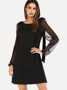 Contrast Mesh Sleeve Bow Detail Dress