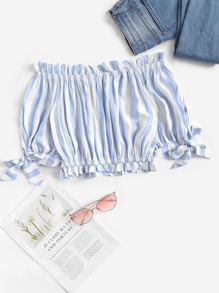 Knot Cuff Striped Lettuce Frill Crop Blouse