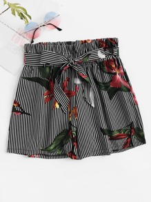 Stripe And Floral Print Belted Paperbag Shorts