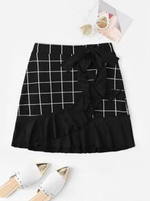 Window Pane Plaid Ruffle Trim Knot Side Skirt