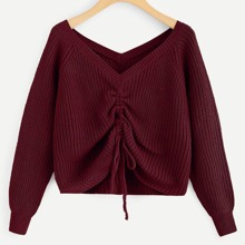 Plus Solid Drawstring Detail Sweater