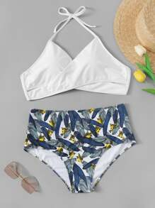 Plus Leaf & Bird Print Mix and Match Bikini