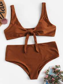 Plus Knot Front Top With High Waist Bikini